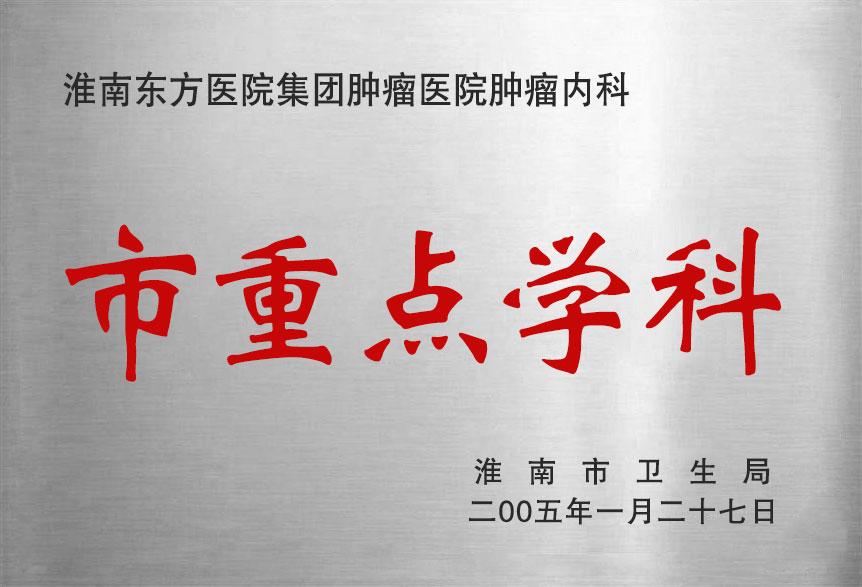 淮南东方医院集团肿瘤医院肿瘤内科市重点学科