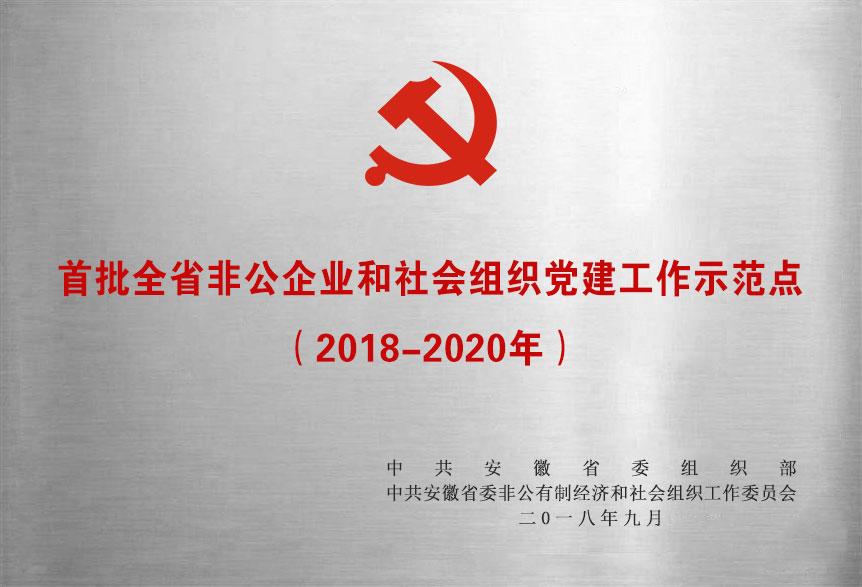 首批全省非公企业和社会组织党建工作示范点(2018-2020年)